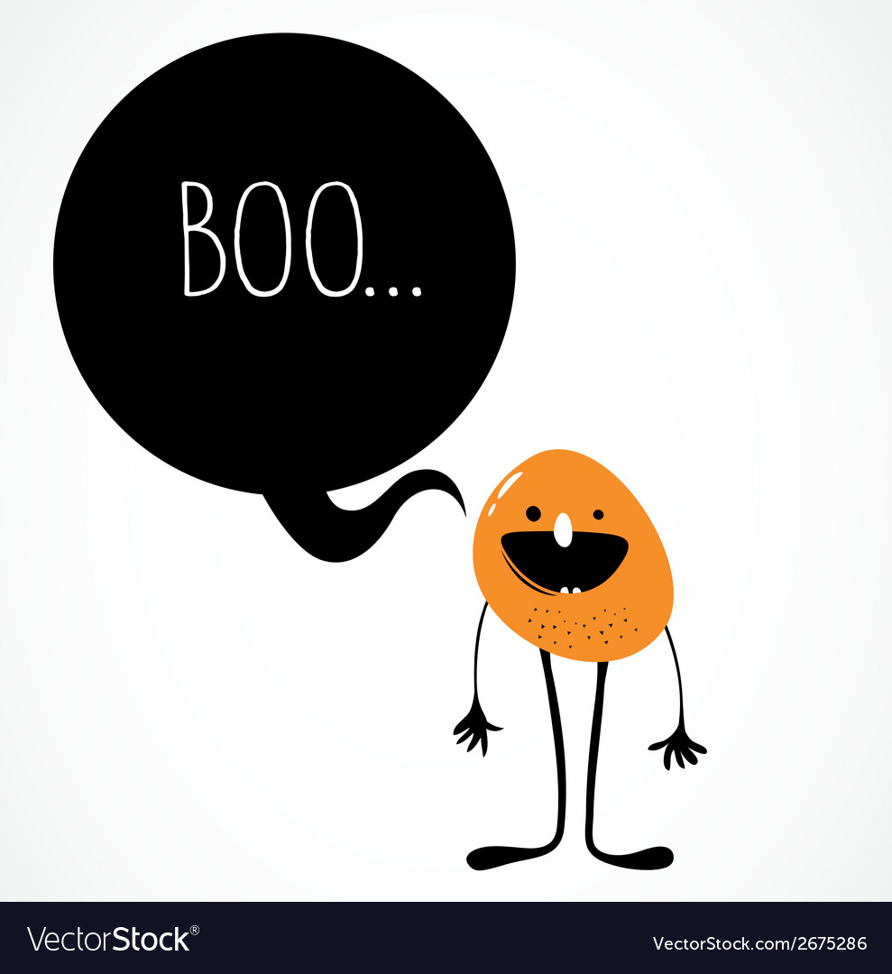 Cute monster with speech bubble vector | Price: 1 Credit (USD $1)