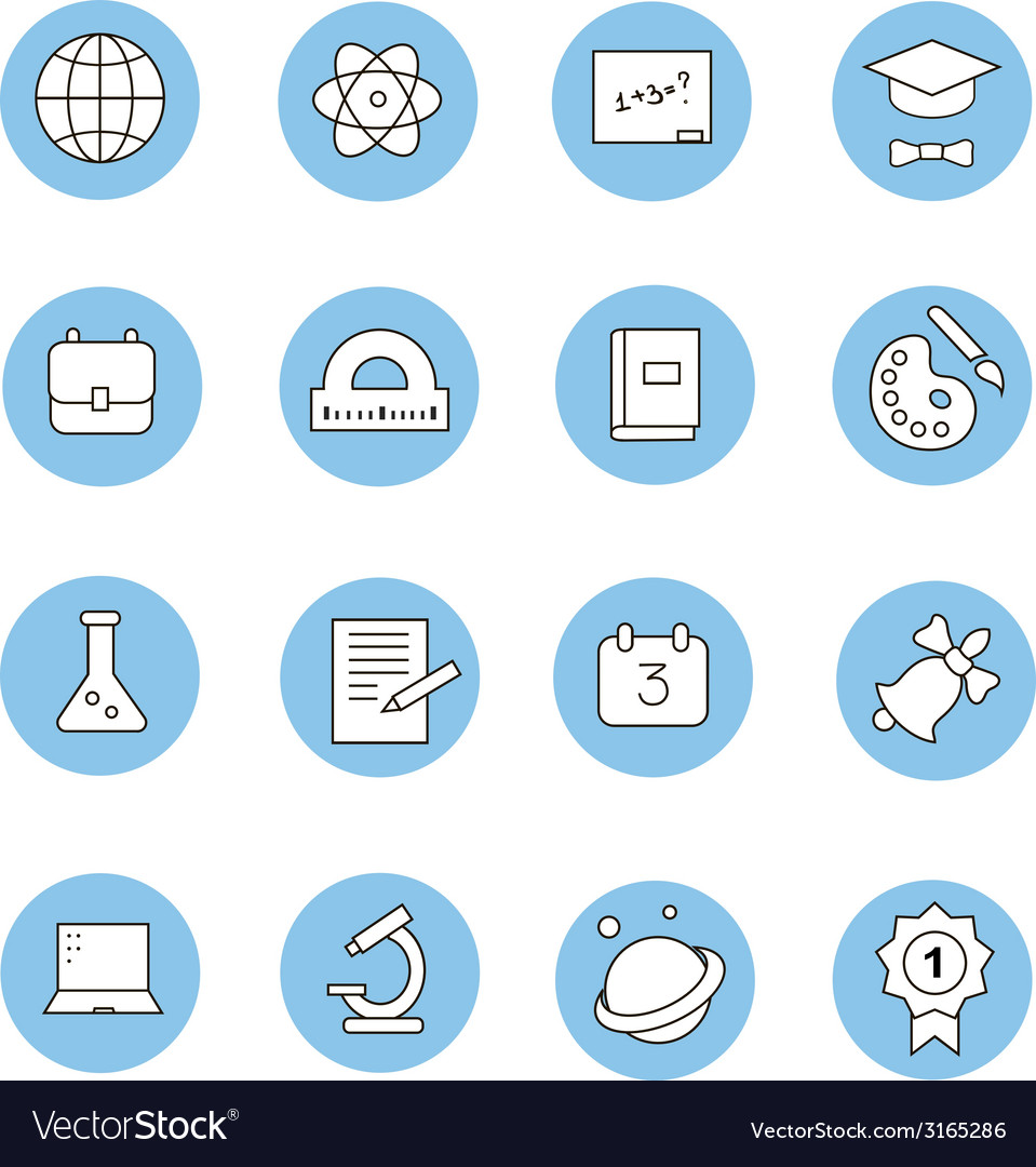 Education and learning flat thin line icons set vector | Price: 1 Credit (USD $1)