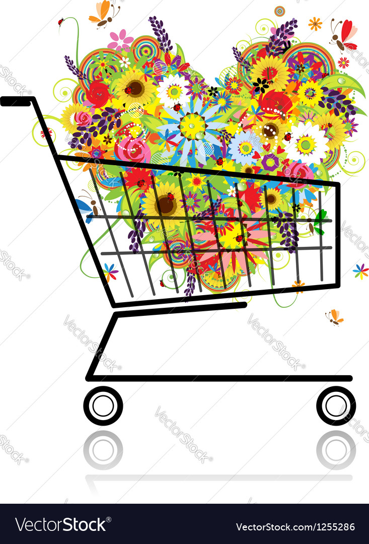 Floral heart in shopping cart for your design vector | Price: 1 Credit (USD $1)