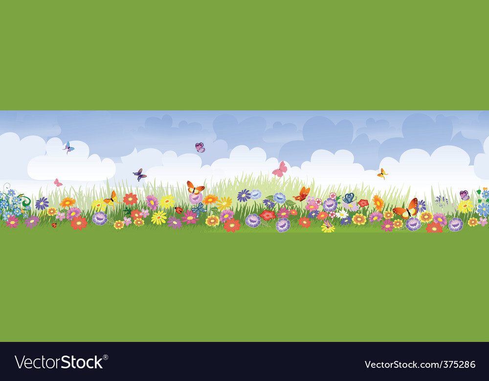 Herbaceous border panorama vector | Price: 1 Credit (USD $1)