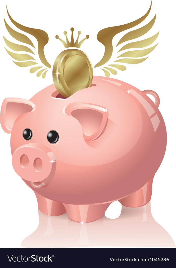 Piggy bank with coins flying vector | Price: 3 Credit (USD $3)