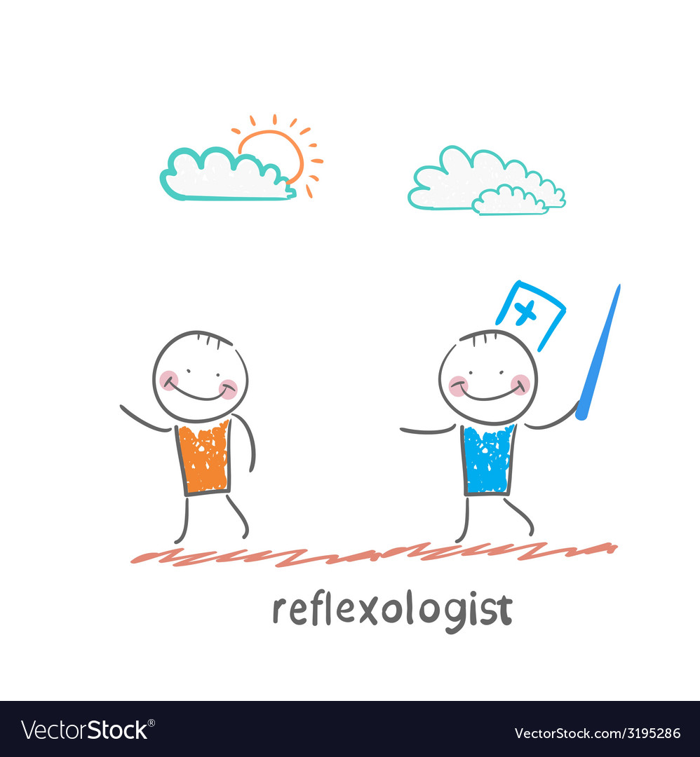 Reflexologist with a needle catches patient vector | Price: 1 Credit (USD $1)