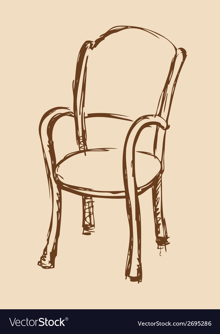 Wooden chair with armrests vector | Price: 1 Credit (USD $1)
