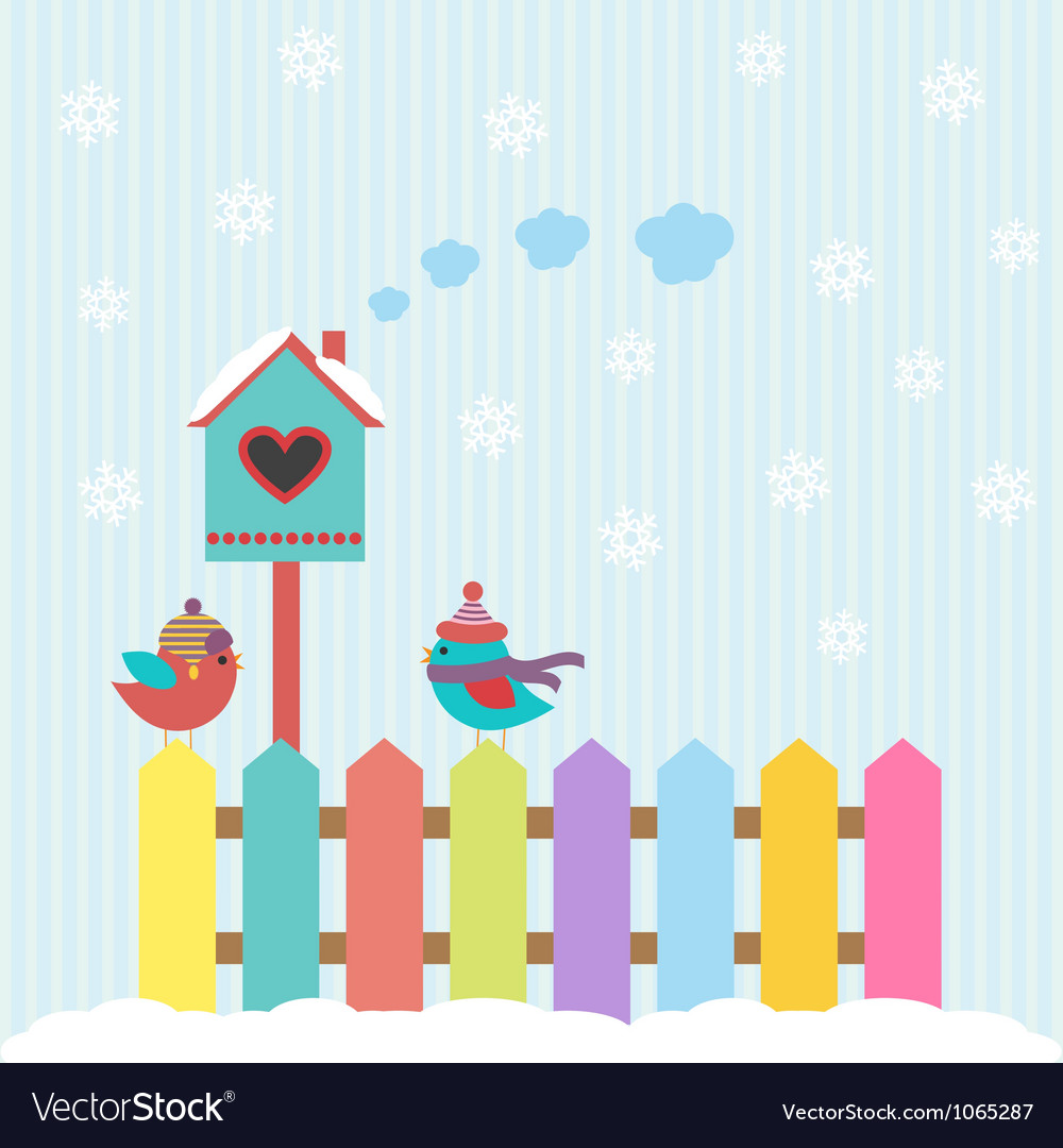 Background with birds and birdhouse winter vector | Price: 1 Credit (USD $1)