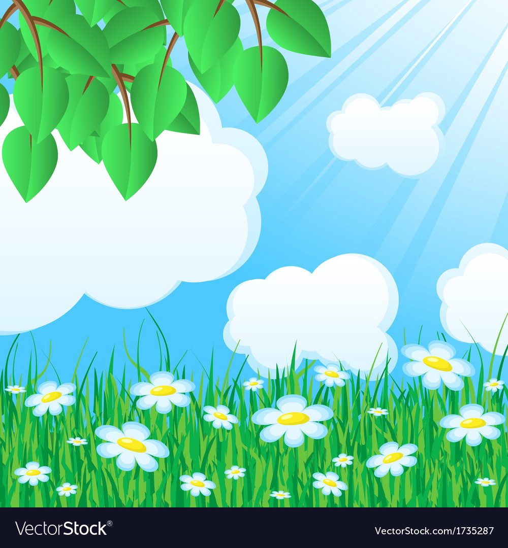Blue background with grass and leaves vector | Price: 1 Credit (USD $1)