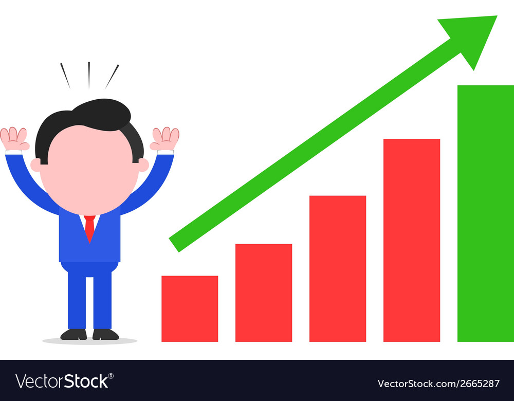 Businessman with chart going up vector | Price: 1 Credit (USD $1)
