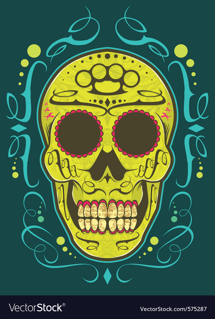 Decorative skull color vector | Price: 1 Credit (USD $1)