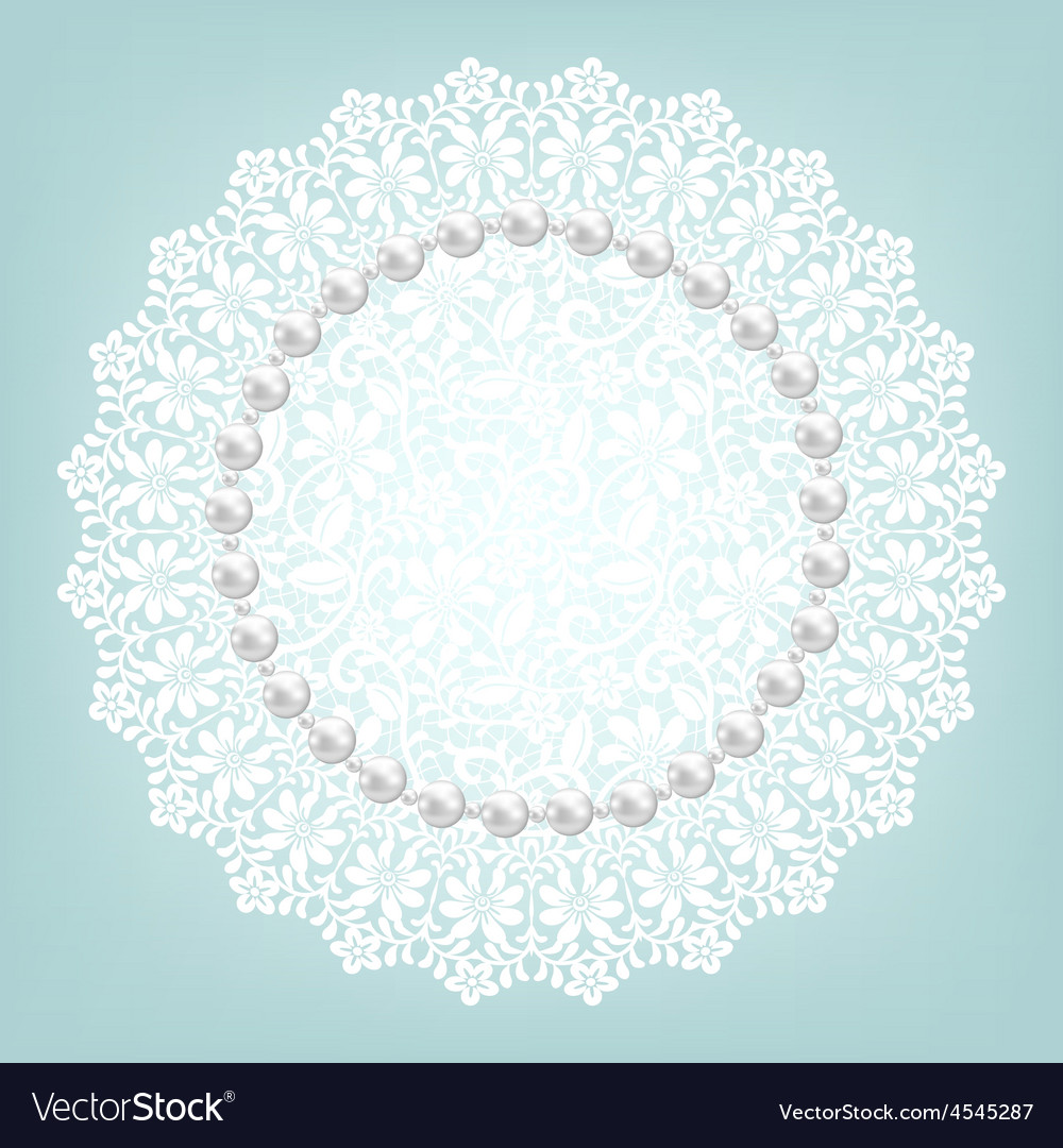 Fabric doily and pearls vector | Price: 1 Credit (USD $1)