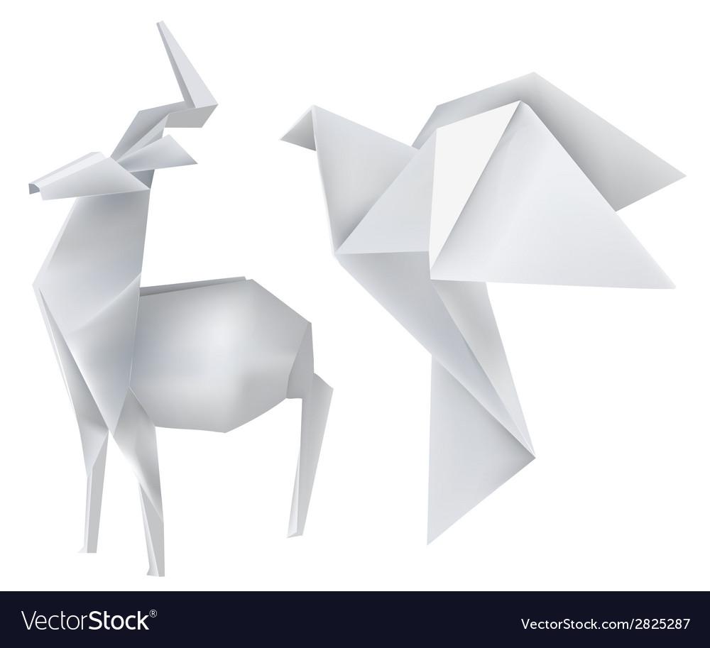 Origami deer dove vector | Price: 1 Credit (USD $1)