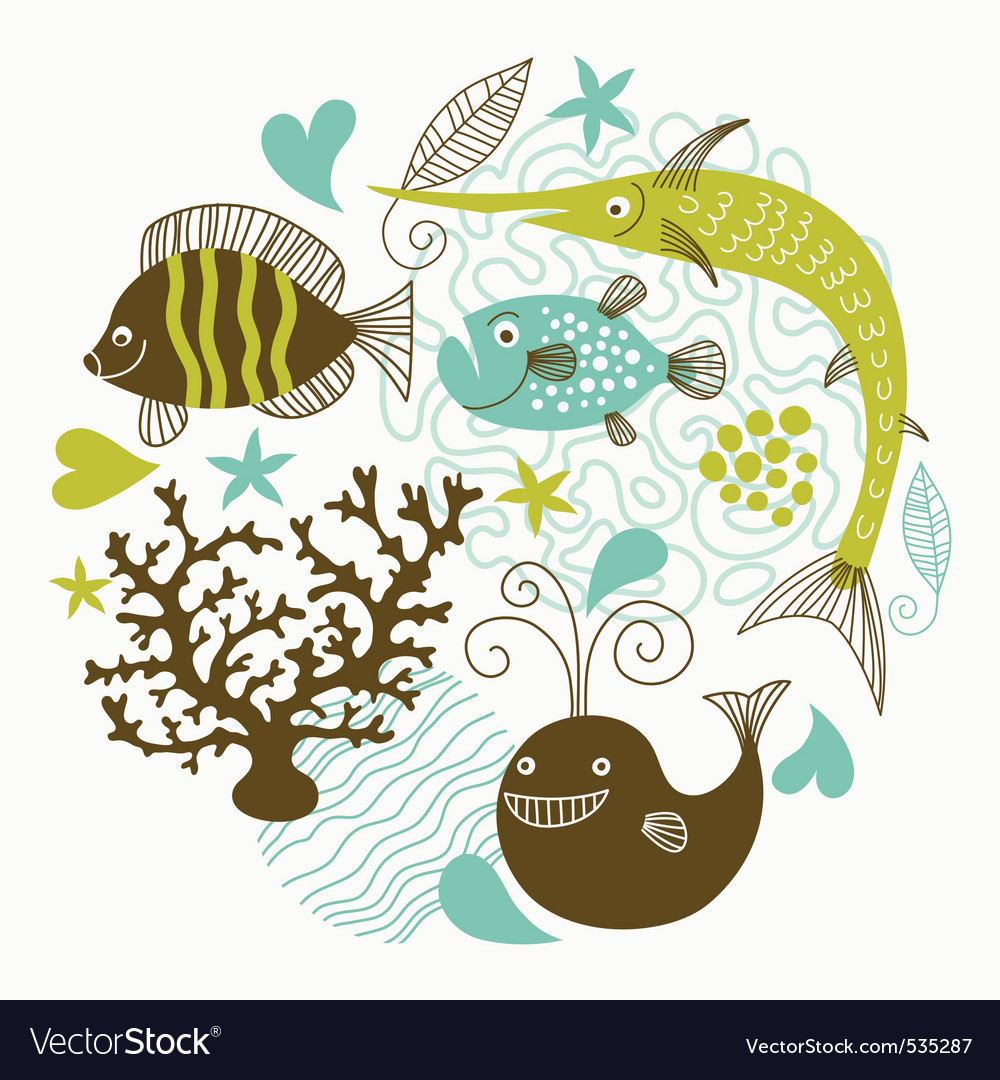 Sea fauna vector | Price: 1 Credit (USD $1)