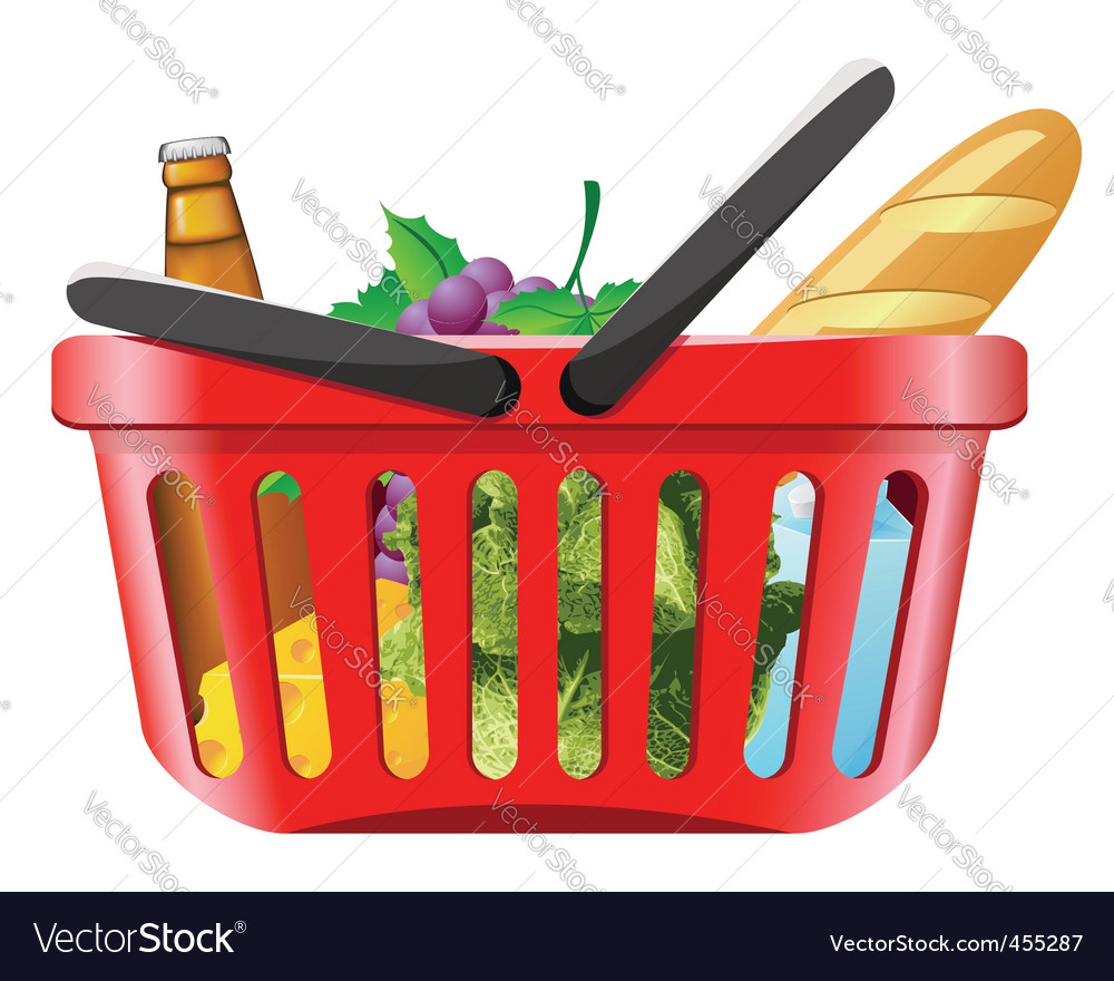 Shopping basket with foods vector | Price: 1 Credit (USD $1)