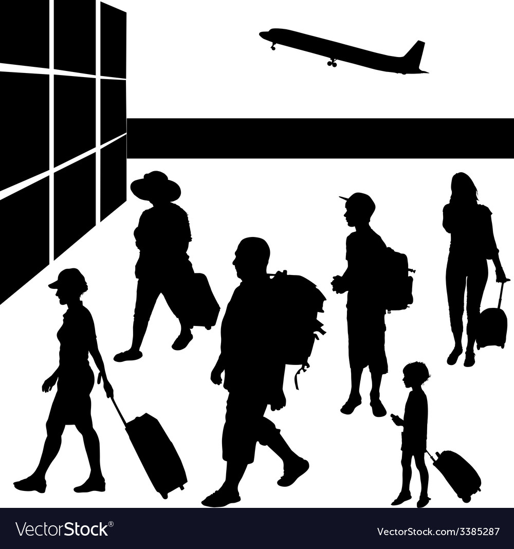 Silhouettes of people with baggage going to travel vector | Price: 1 Credit (USD $1)