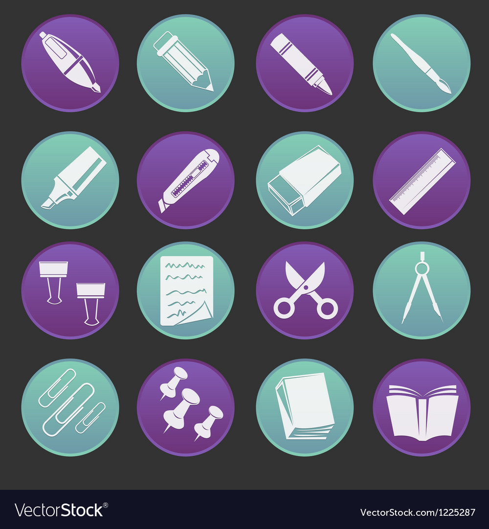 Stationery icon gradient style vector | Price: 1 Credit (USD $1)