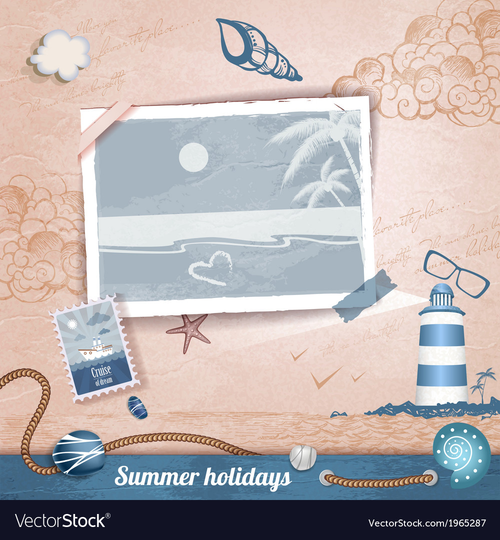Summer scrapbooking photo album vector | Price: 1 Credit (USD $1)
