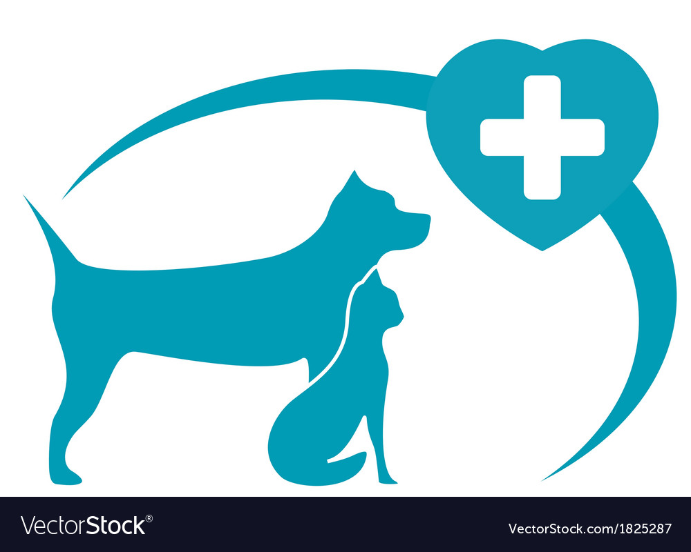 Veterinary symbol with dog cat on white background vector | Price: 1 Credit (USD $1)