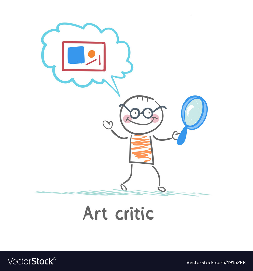 Art critic a magnifying glass and think about the vector | Price: 1 Credit (USD $1)