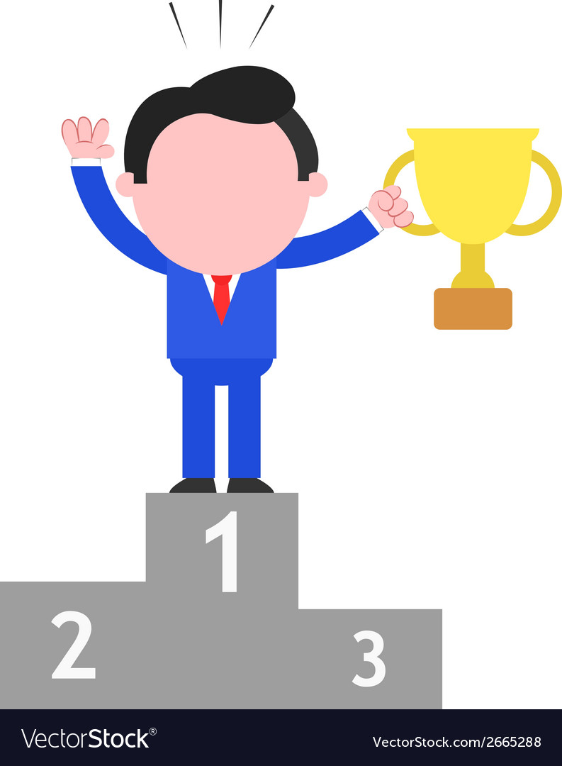 Businessman holding cup on podium as champion vector | Price: 1 Credit (USD $1)
