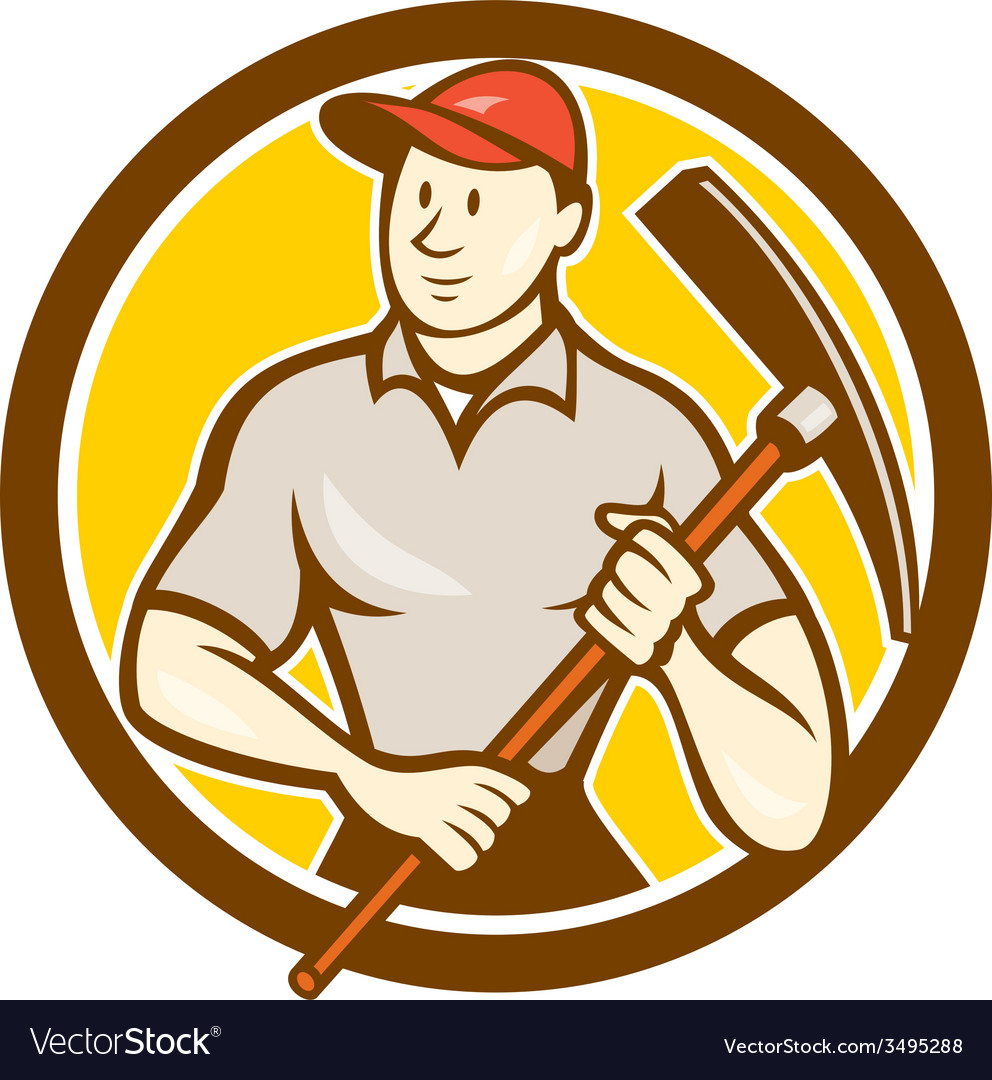 Construction worker holding pickaxe circle cartoon vector   Price: 1 Credit (USD $1)