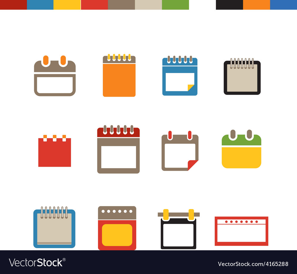 Different calendar web icons collection vector | Price: 1 Credit (USD $1)