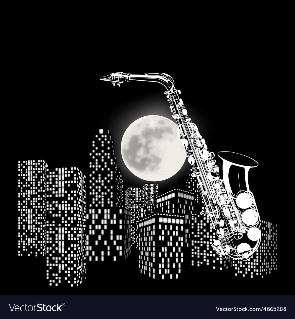 Saxophone on a background of the moon and city vector | Price: 1 Credit (USD $1)