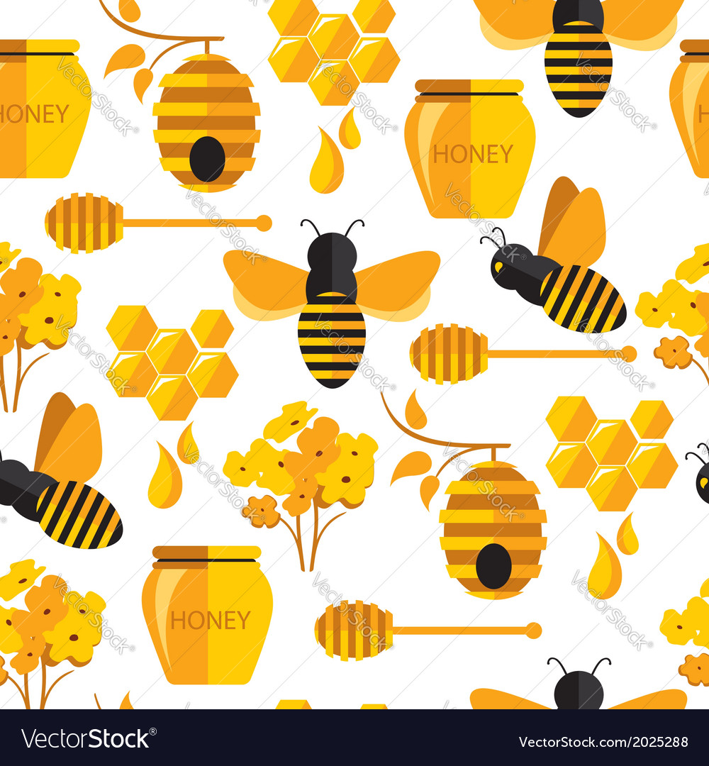 Seamless abstract pattern with bee and honey vector | Price: 1 Credit (USD $1)