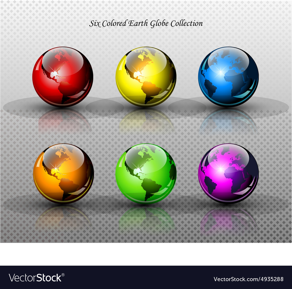 Set of six glossy colored earth globes vector
