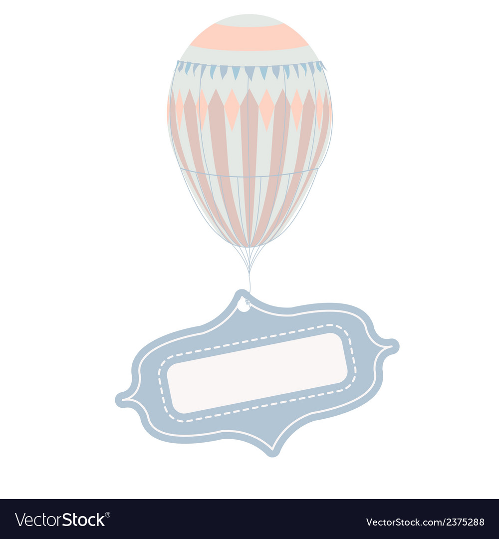 Vintage balloon with tag frame vector | Price: 1 Credit (USD $1)