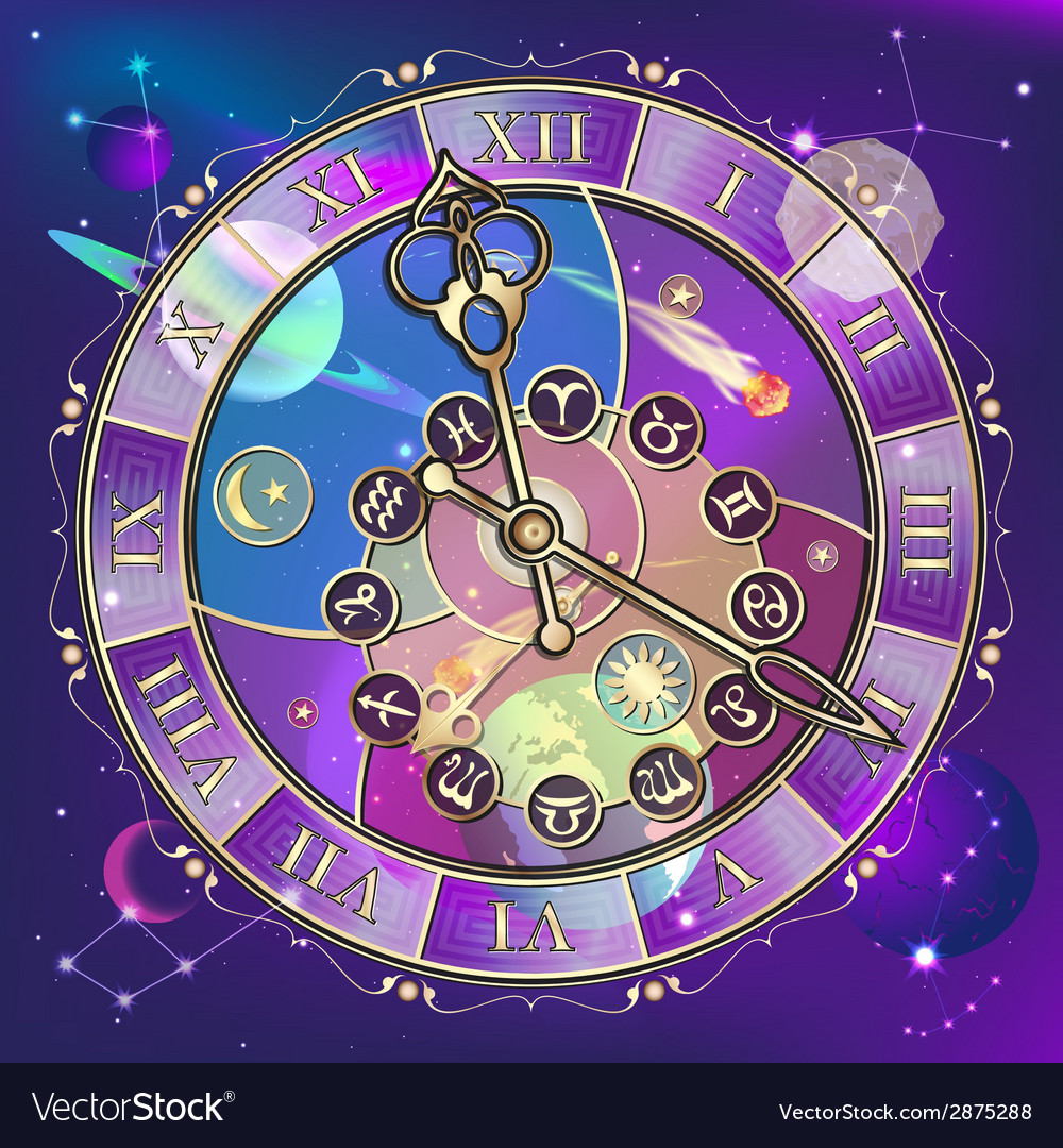 Watch with astrological signs vector | Price: 1 Credit (USD $1)