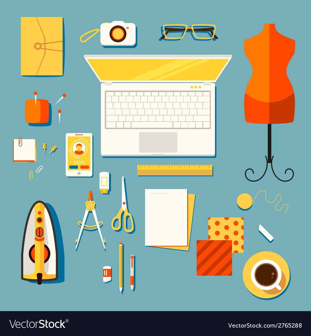 Workplace of designer clothes seamstress tailo vector | Price: 1 Credit (USD $1)