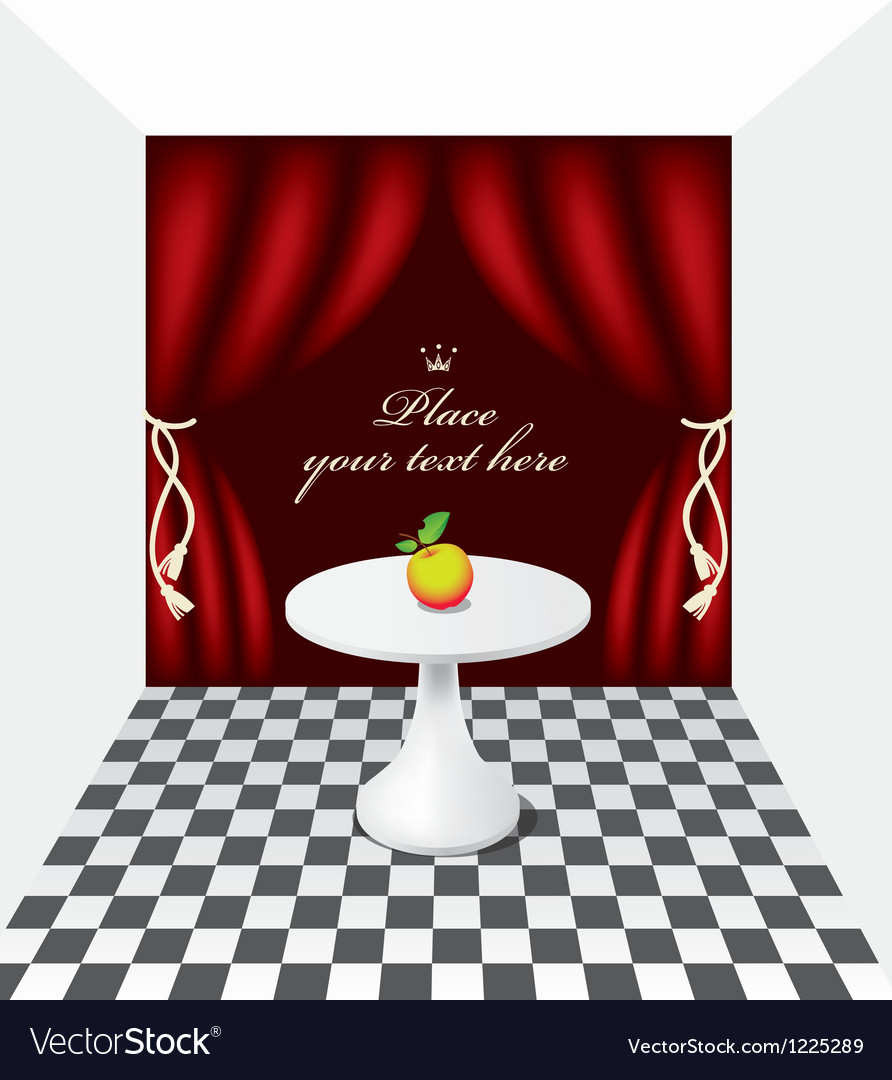Apple on the table vector | Price: 1 Credit (USD $1)