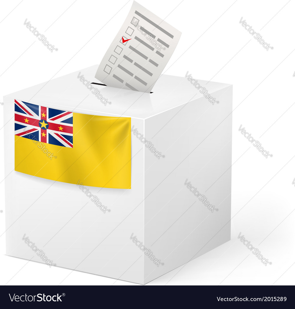 Ballot box with voting paper niue vector | Price: 1 Credit (USD $1)