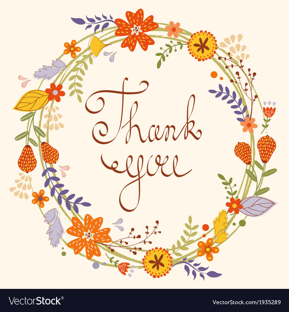Beautiful thank you card vector | Price: 1 Credit (USD $1)