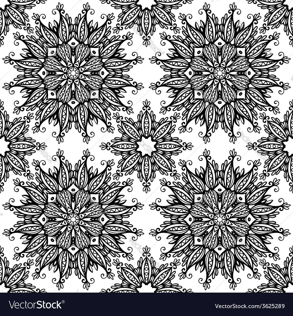 Black and white hand drawn vintage stars seamless vector | Price: 1 Credit (USD $1)