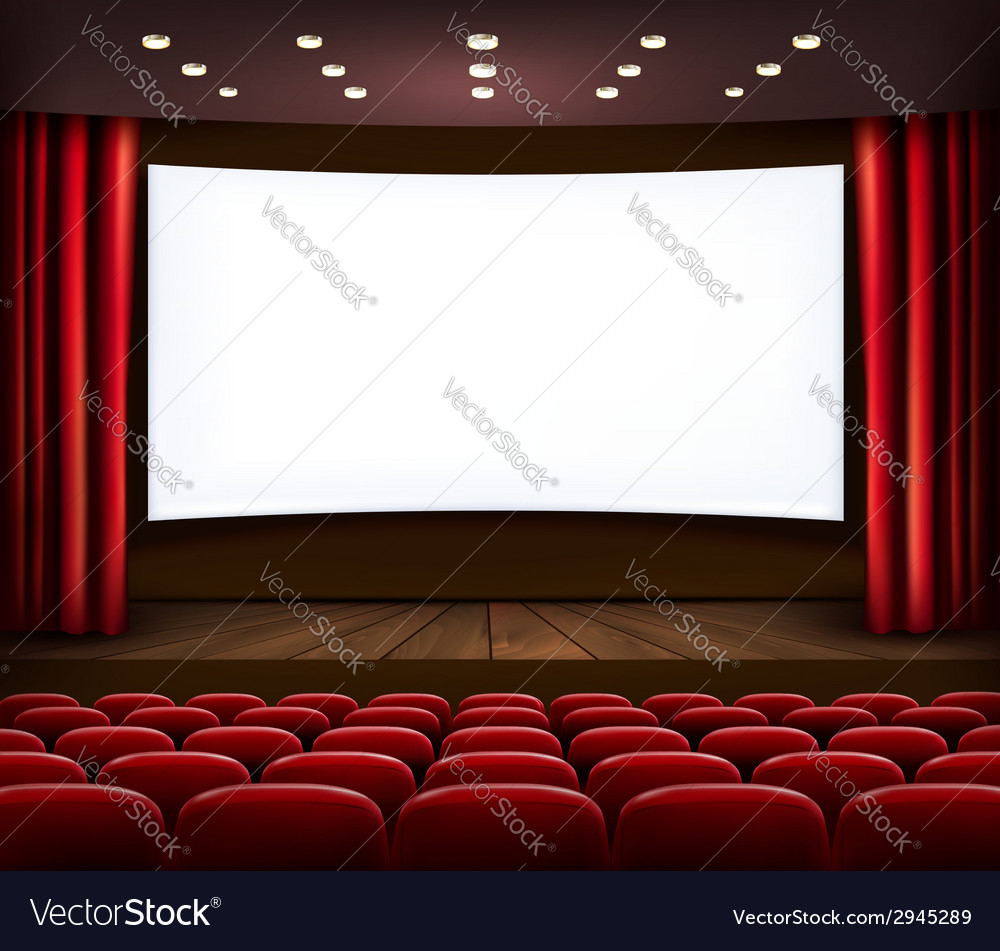 Cinema with white screen curtain and seats vector | Price: 1 Credit (USD $1)