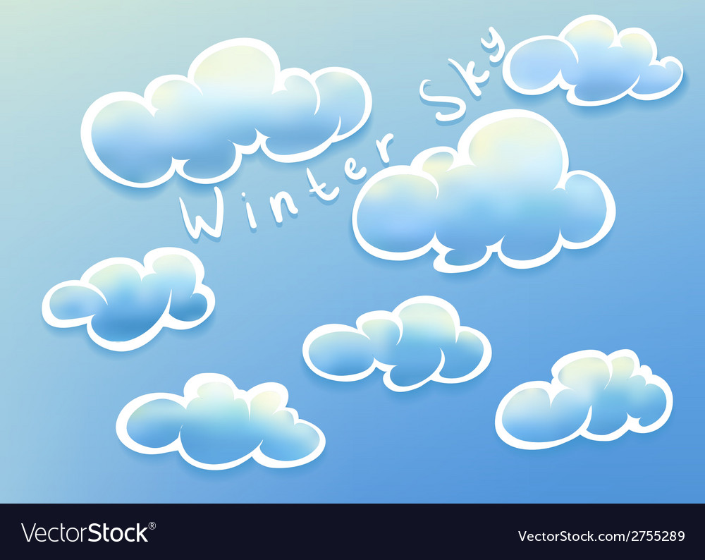 Clouds on winter sky vector | Price: 1 Credit (USD $1)