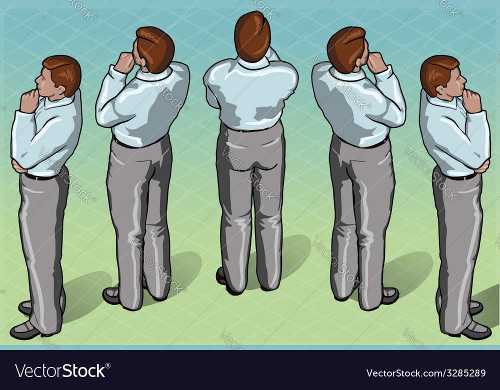 Isometric thoughtful standing man vector | Price: 3 Credit (USD $3)