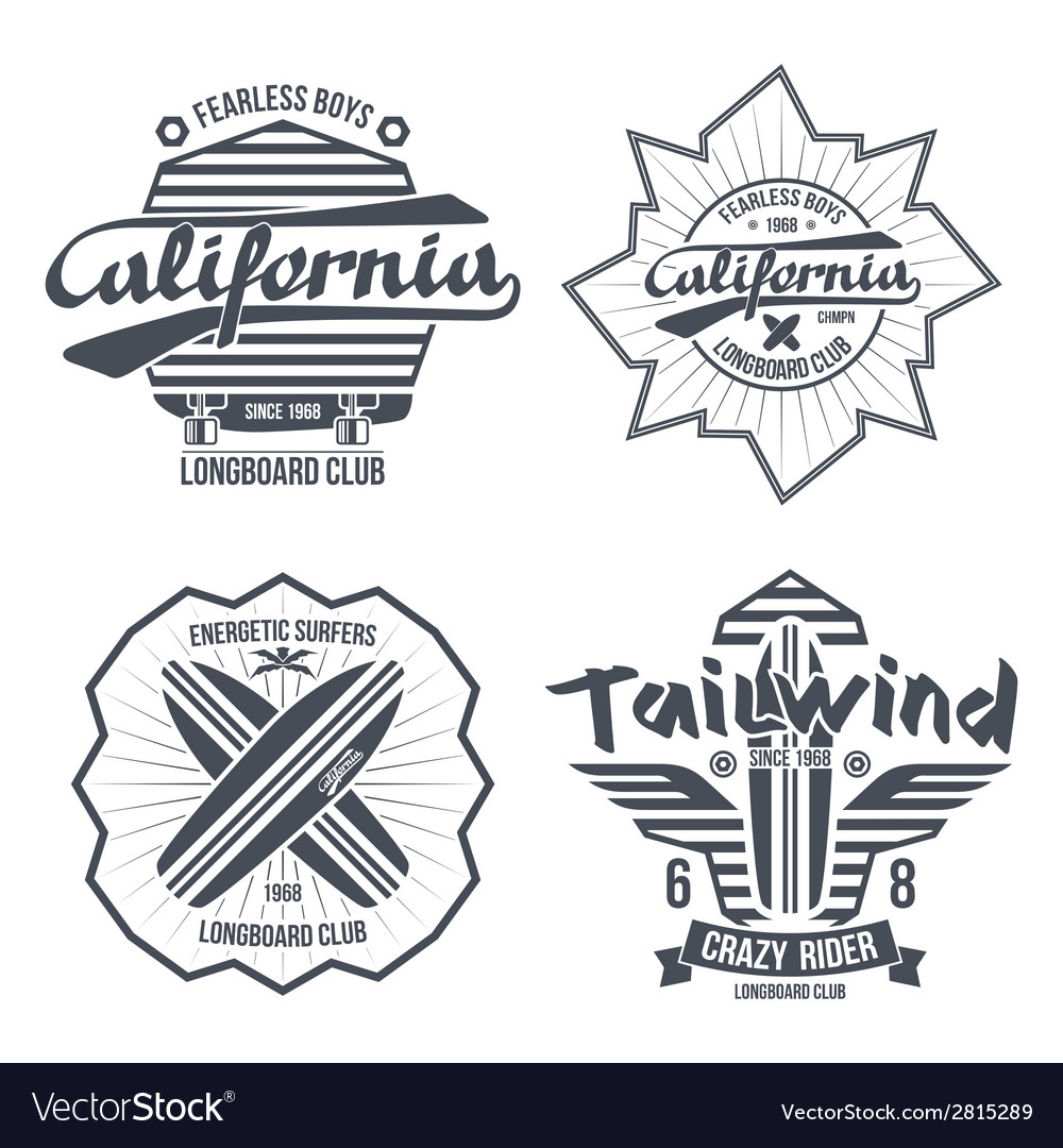 Longboard surfing retro emblem vector | Price: 1 Credit (USD $1)