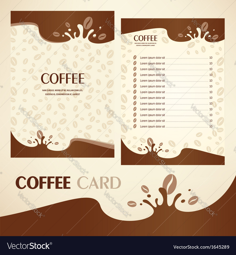 Menu coffee card vector | Price: 1 Credit (USD $1)