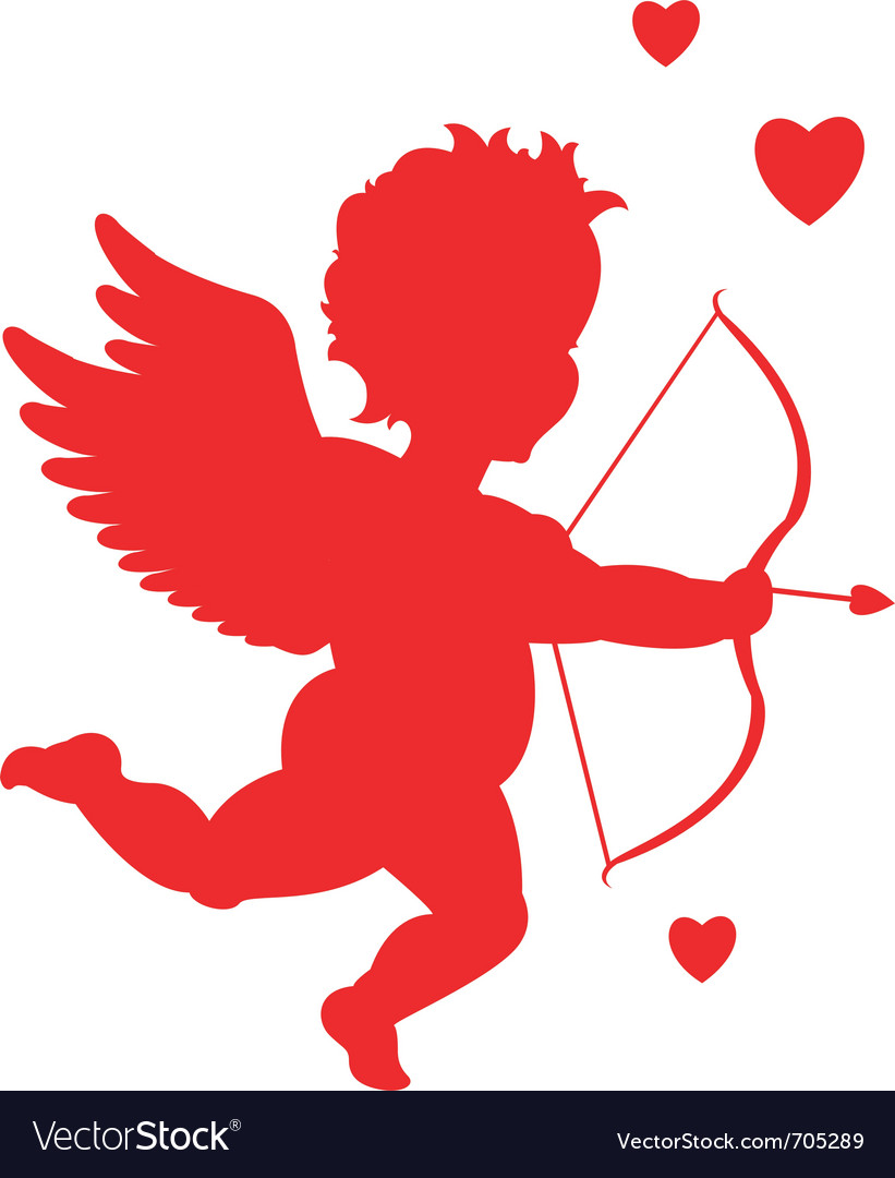 Red cupid silhouette vector | Price: 1 Credit (USD $1)