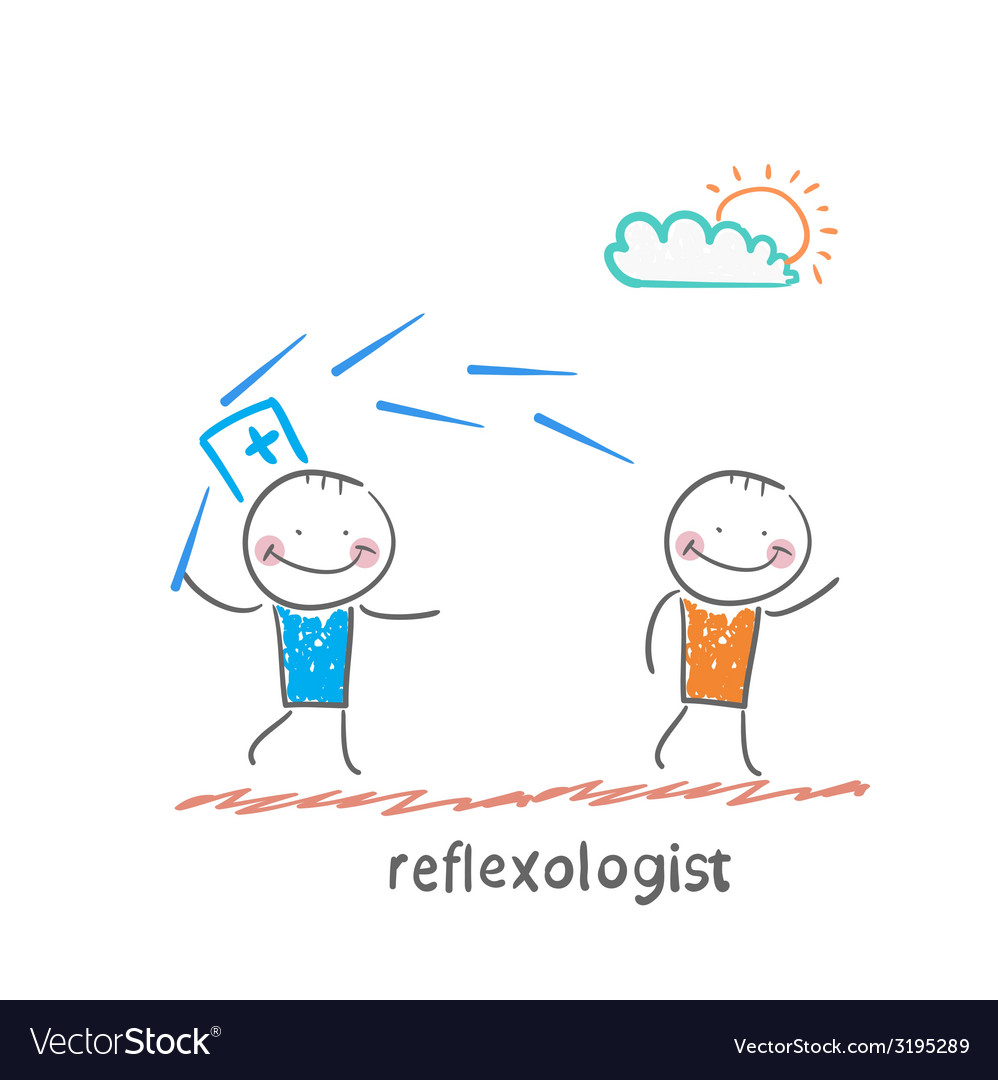 Reflexologist works with a patient with needles vector | Price: 1 Credit (USD $1)