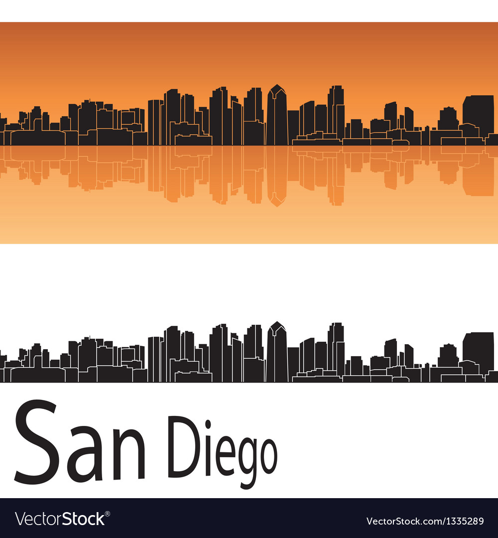 San diego skyline in orange background vector | Price: 1 Credit (USD $1)