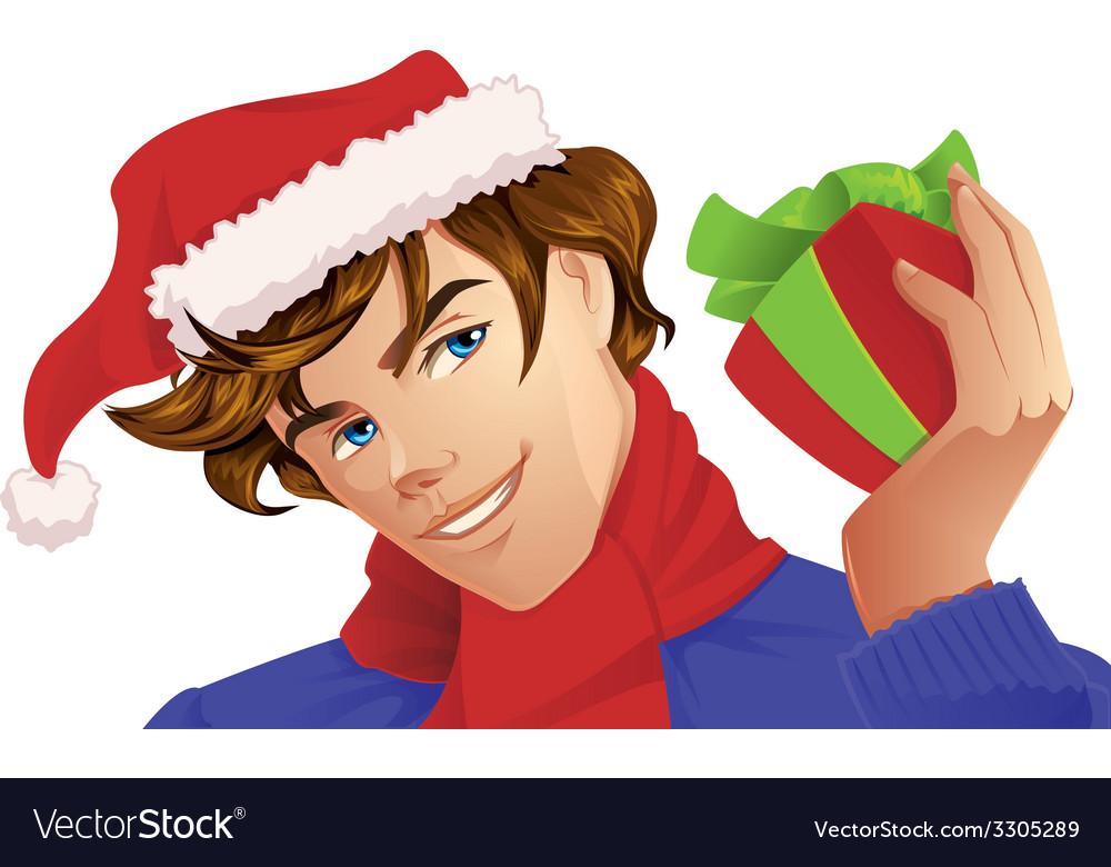 Santa man holding a christmas gift vector   Price: 3 Credit (USD $3)