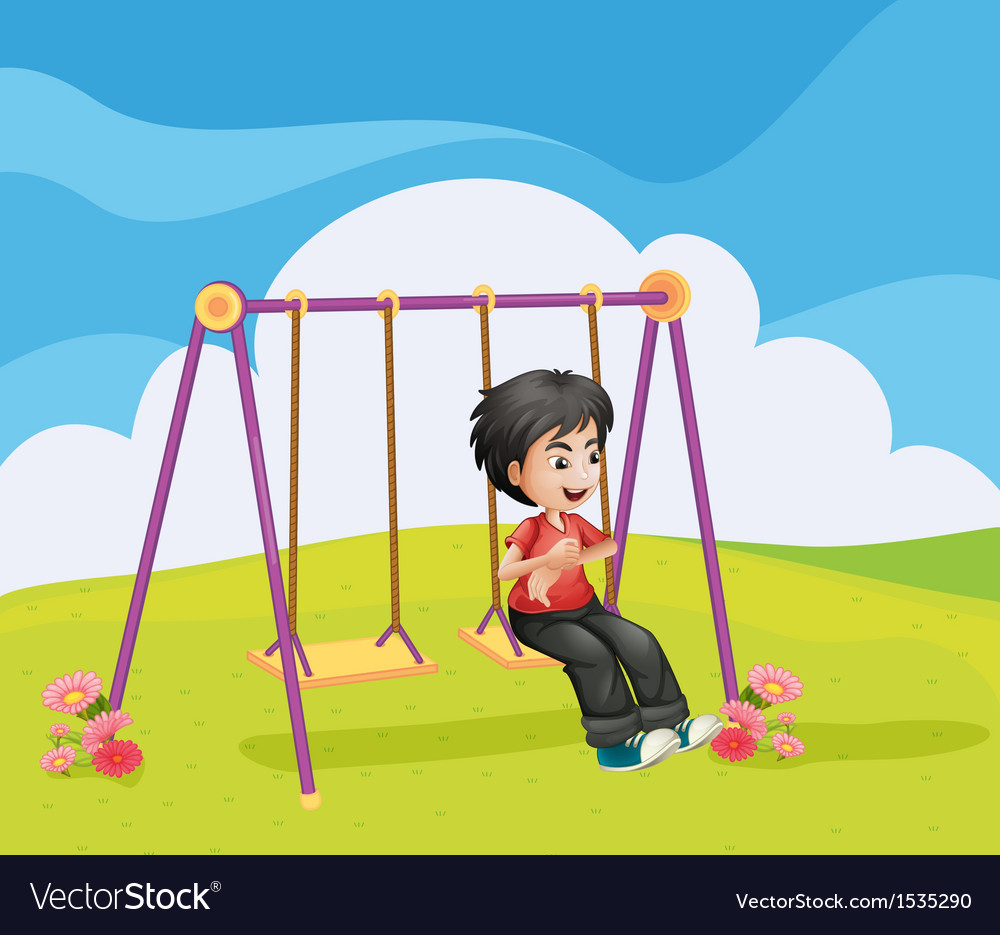 A boy swinging alone vector | Price: 1 Credit (USD $1)
