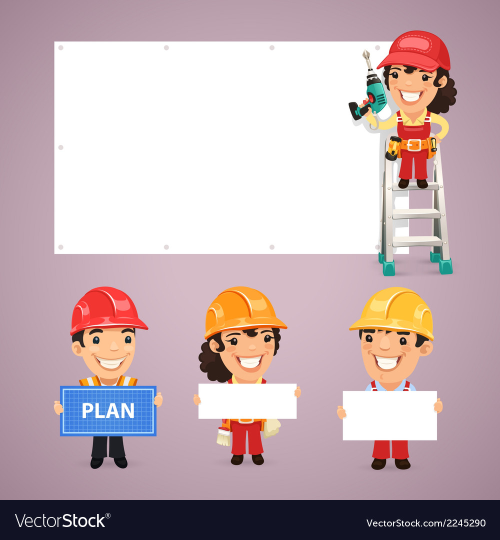 Builders presenting empty banners vector | Price: 1 Credit (USD $1)