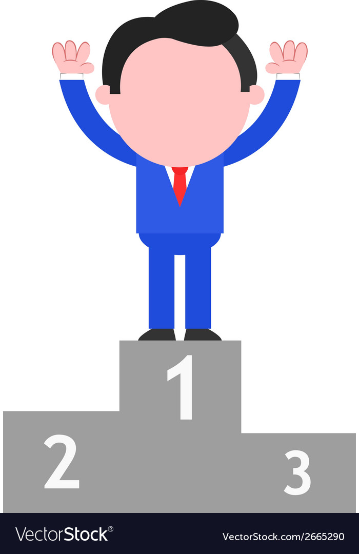 Businessman standing on podium as champion vector | Price: 1 Credit (USD $1)