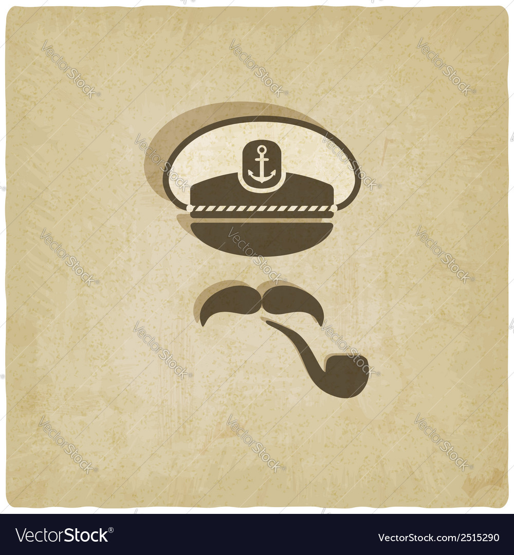 Captain mustache pipe old background vector | Price: 1 Credit (USD $1)