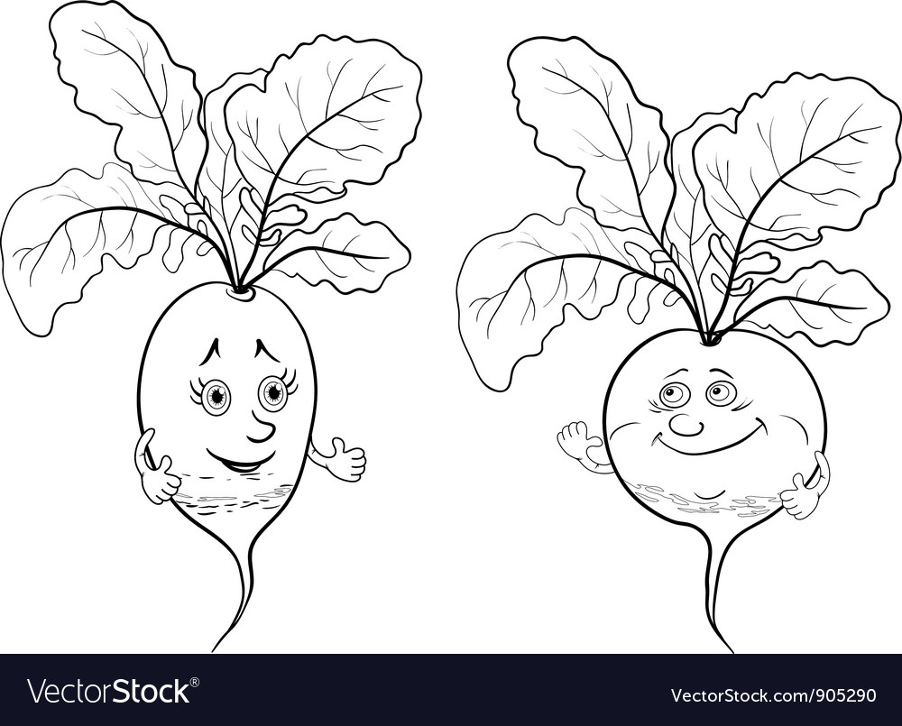 Character radish outline vector | Price: 1 Credit (USD $1)