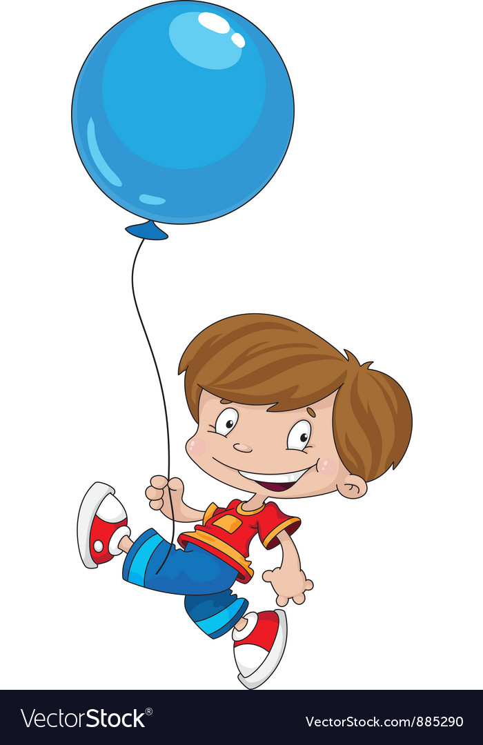 Funny boy with balloon vector | Price: 3 Credit (USD $3)