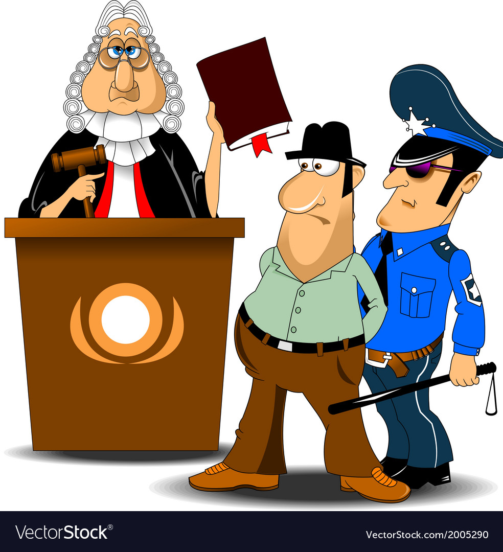 Judge and policeman with criminal vector | Price: 1 Credit (USD $1)