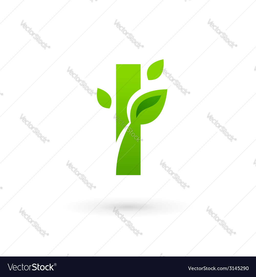 Letter i eco leaves logo icon design template vector | Price: 1 Credit (USD $1)